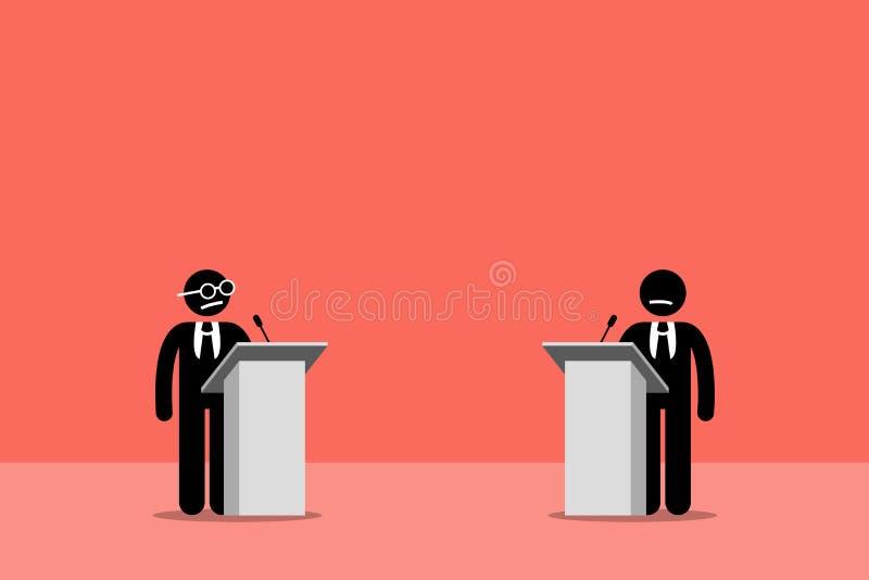 Politiker som debatterar på etappen stock illustrationer