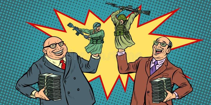 Politiker startar krig för pengarbegrepp Affärsmän som skrattar att slåss för soldater stock illustrationer