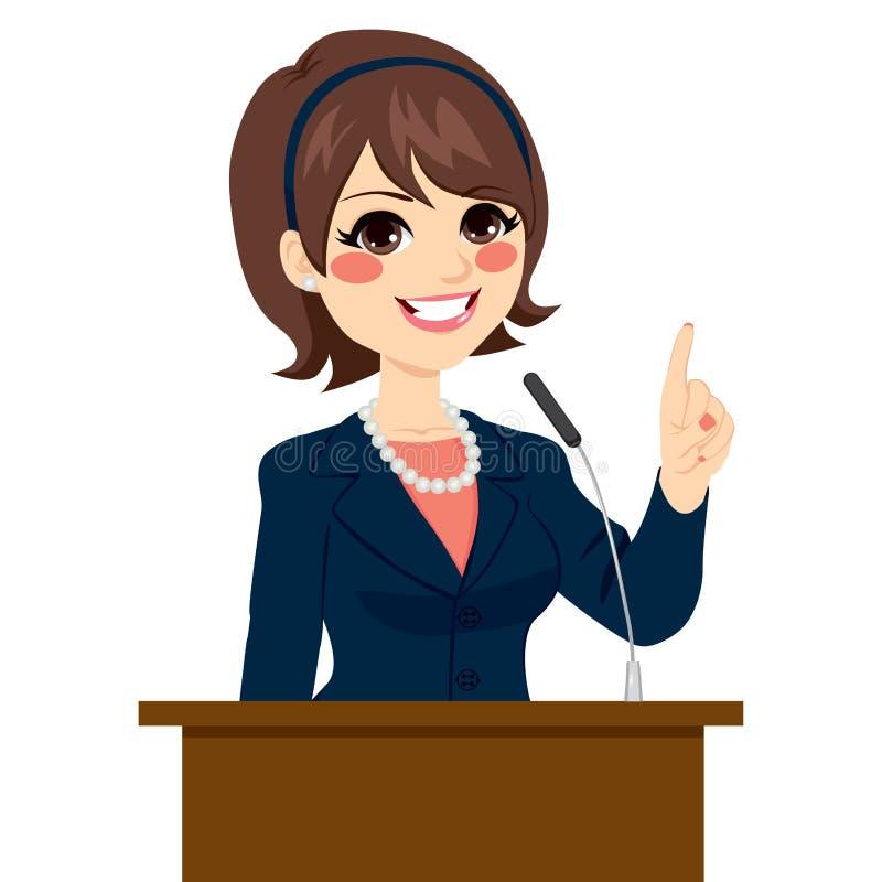 Politiker Woman Speaking stock illustrationer