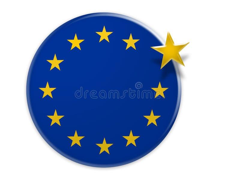 PolitikEU-utgång: Knapp för flagga för europeisk union med en stjärna som svävar, illustration 3d royaltyfri illustrationer