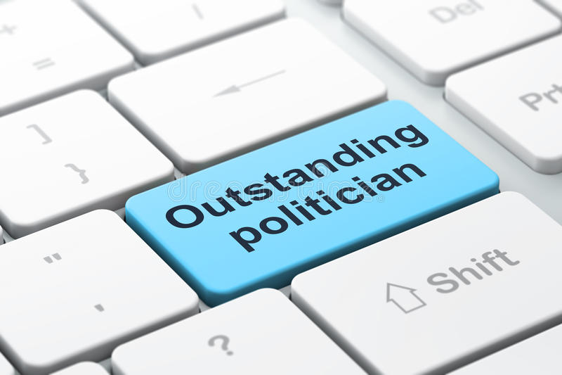 Politikkonzept: Hervorragender Politiker auf Computertastaturhintergrund lizenzfreie abbildung