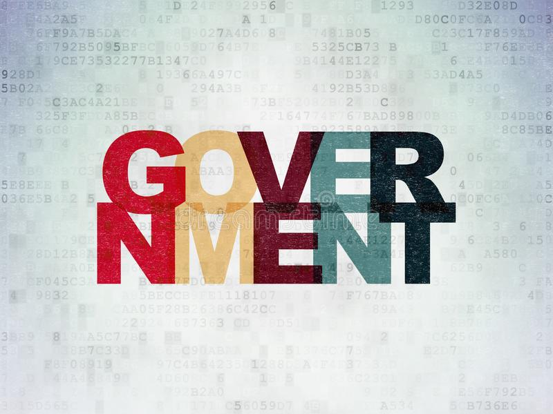 Politikkonzept: Regierung auf Digital-Daten-Papierhintergrund stock abbildung