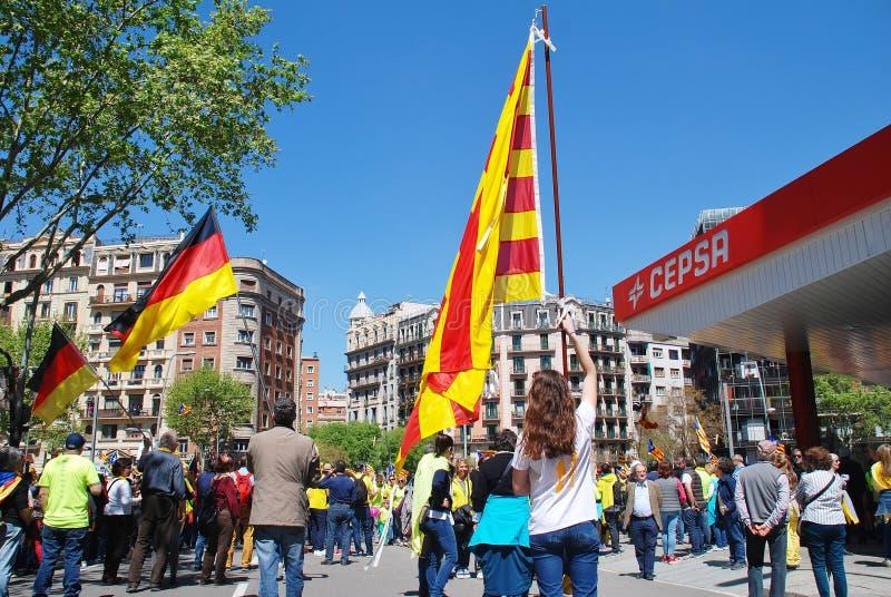 Politikmarsch Llibertat Presos, Barcelona stockfoto