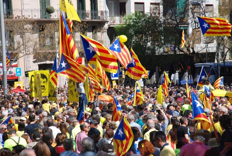 Politikprotest Llibertat Presos, Barcelona stockfotografie