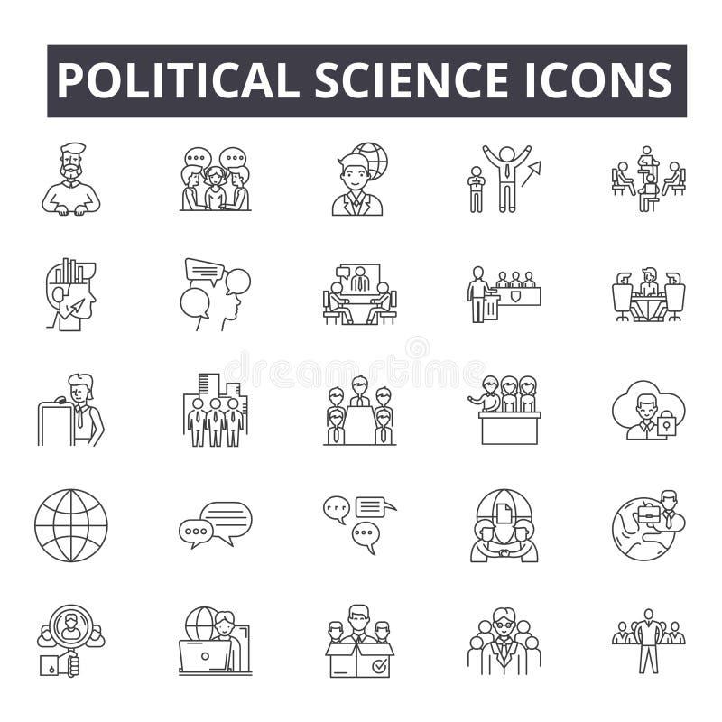 Politikwissenschaftslinie Ikonen, Zeichen, Vektorsatz, lineares Konzept, Entwurfsillustration vektor abbildung