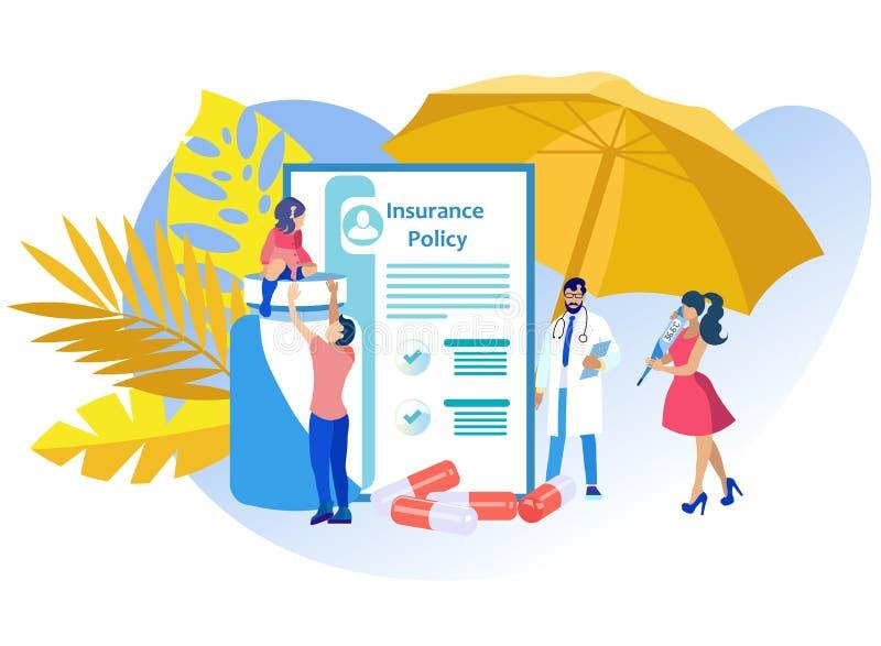 Politique d'assurance-maladie d'illustration de vecteur illustration stock