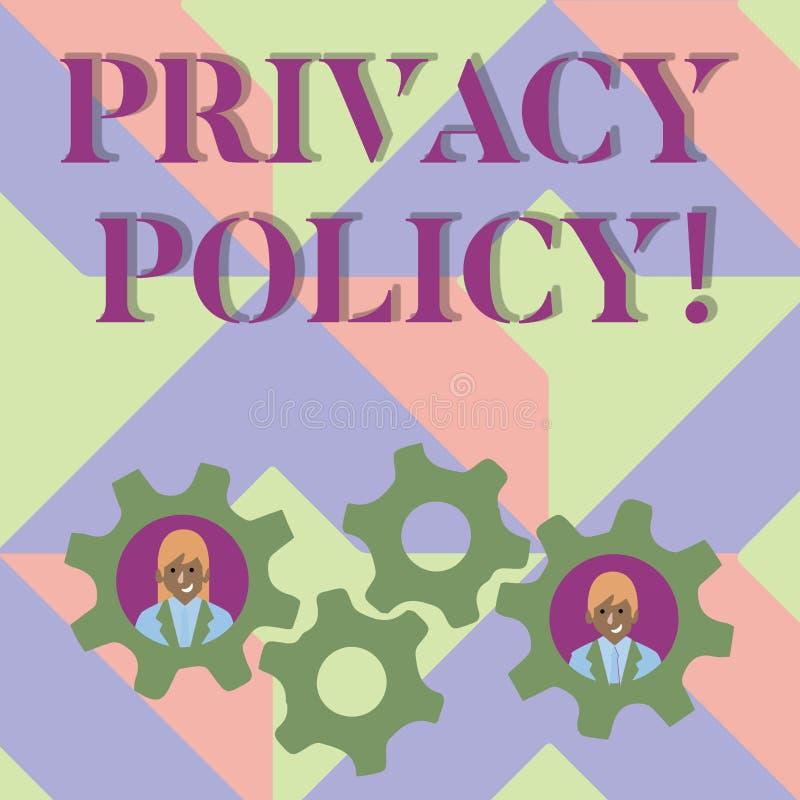 Politique de confidentialité d'écriture des textes d'écriture Protection des données confidentielle de protection des données de  illustration libre de droits