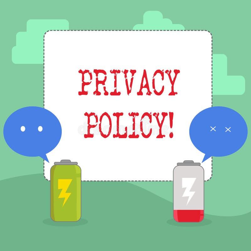 Politique de confidentialité d'écriture des textes d'écriture Protection des données confidentielle de protection des données de  illustration stock