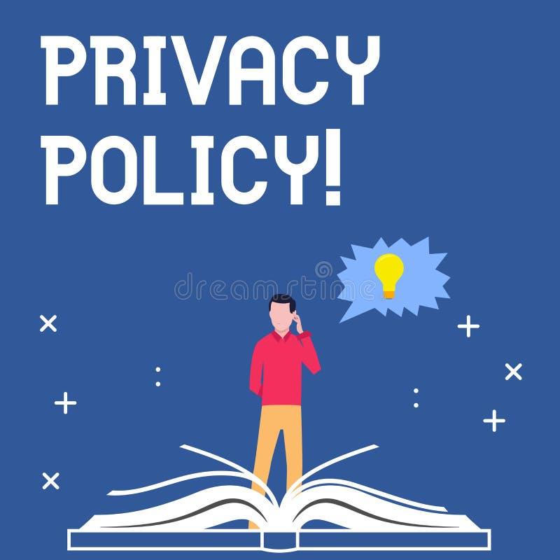 Politique de confidentialité d'écriture des textes d'écriture Protection des données confidentielle de protection des données de  illustration de vecteur