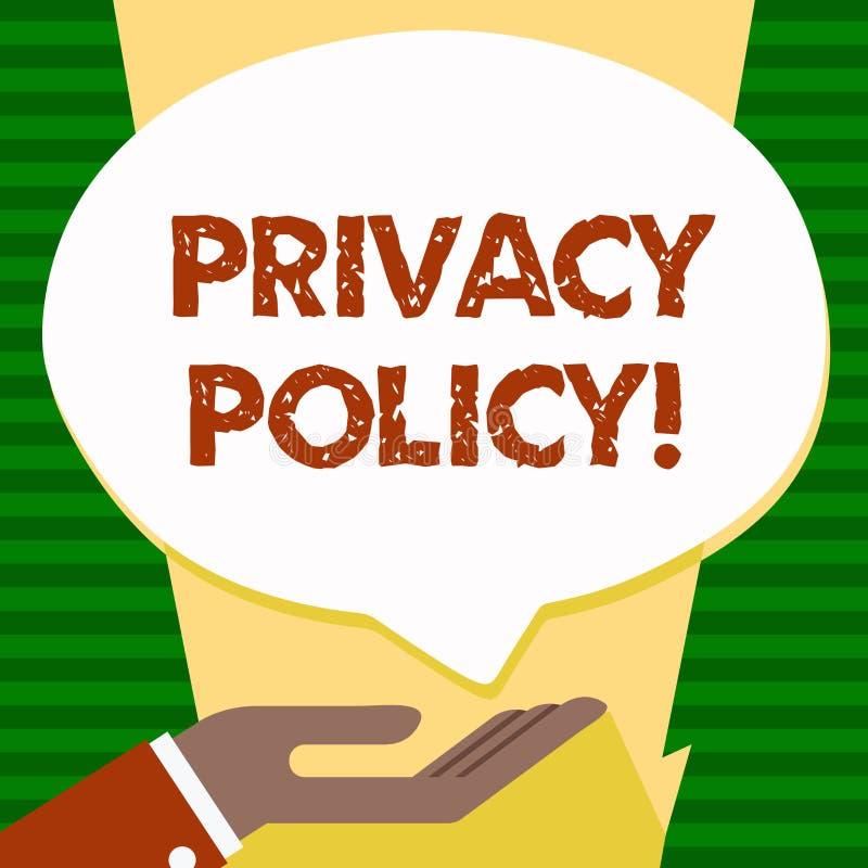 Politique de confidentialité des textes d'écriture Protection des données confidentielle de protection des données de document de illustration stock
