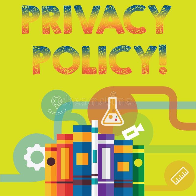 Politique de confidentialité des textes d'écriture Protection des données confidentielle de protection des données de document de illustration libre de droits