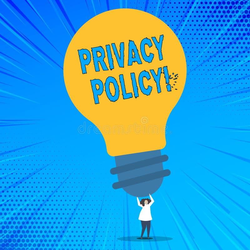 Politique de confidentialité des textes d'écriture de Word Concept d'affaires pour la protection des données confidentielle de pr illustration stock
