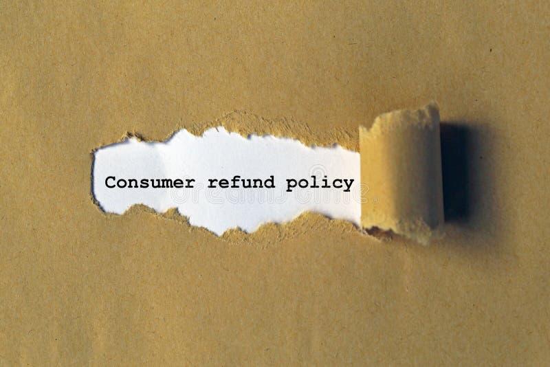 Politique de remboursement du consommateur photographie stock