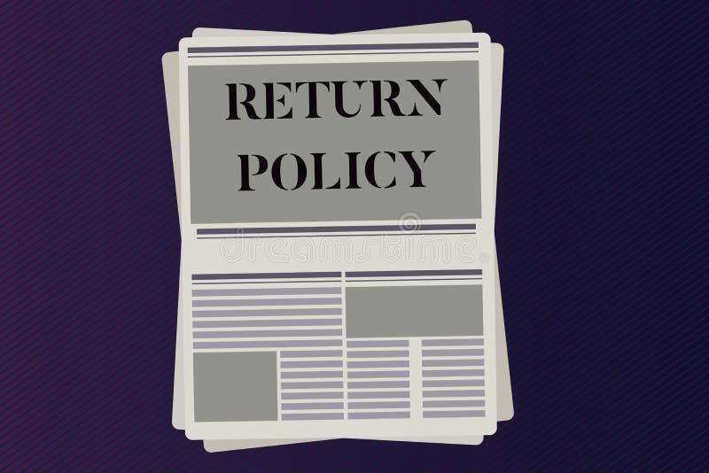 Politique de retour des textes d'écriture de Word Concept d'affaires pour des termes et conditions de vente au détail de rembours illustration de vecteur