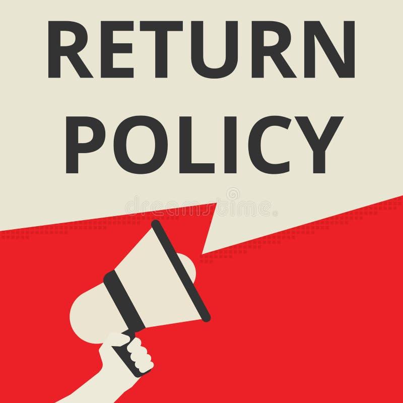 Politique de retour de représentation de inscription conceptuelle illustration stock