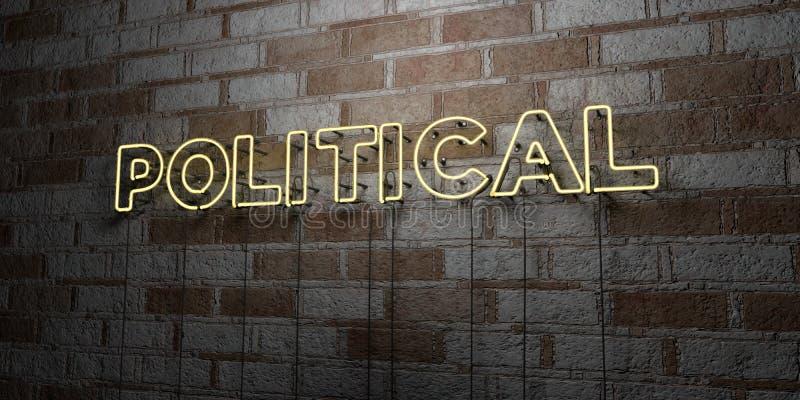 POLITIQUE - Enseigne au néon rougeoyant sur le mur de maçonnerie - 3D a rendu l'illustration courante gratuite de redevance illustration libre de droits