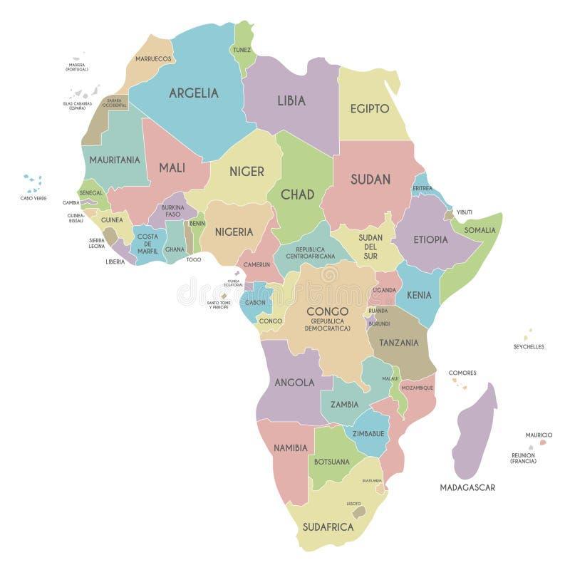 Politische Afrika-Kartenvektorillustration lokalisiert auf weißem Hintergrund mit Ländernamen auf spanisch vektor abbildung