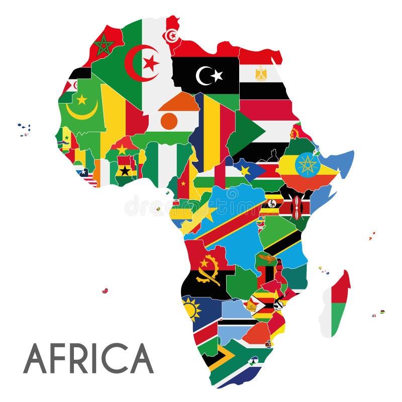 Politische Afrika-Kartenvektorillustration mit den Flaggen aller Länder lizenzfreie abbildung