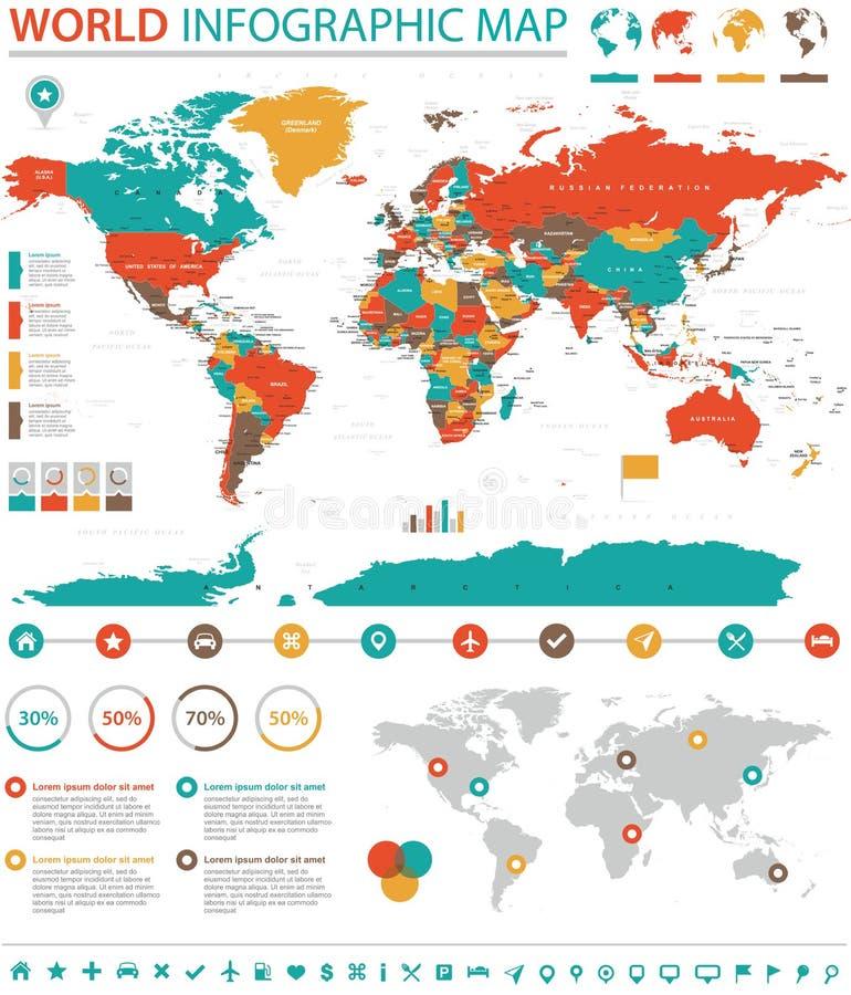 Politische farbige Weltkarte-Zeigerinformation grafisch lizenzfreie abbildung