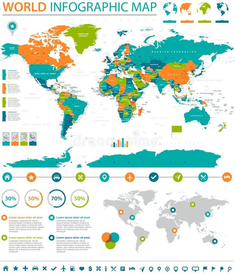 Politische farbige Weltkarte-Zeigerinformation grafisch vektor abbildung
