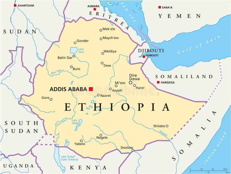 Politische Karte Äthiopiens vektor abbildung