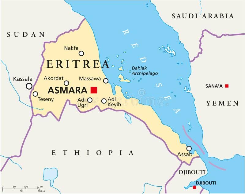 Politische Karte Äthiopiens lizenzfreie abbildung