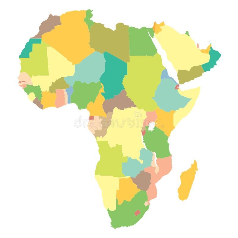 Politische Karte Afrika lizenzfreie abbildung