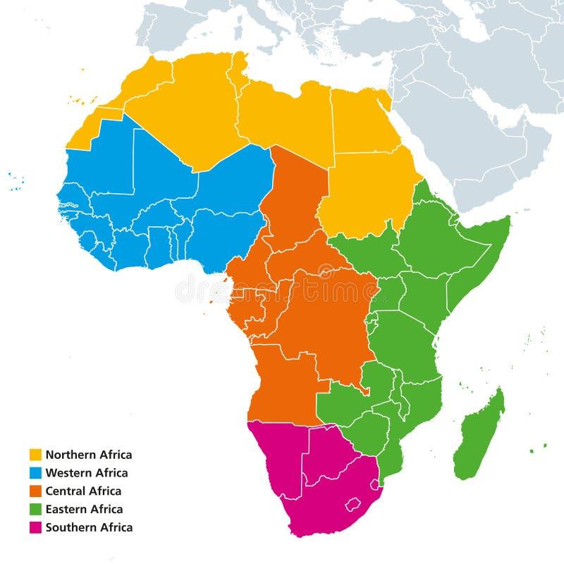 Politische Karte Afrika-Regionen stock abbildung