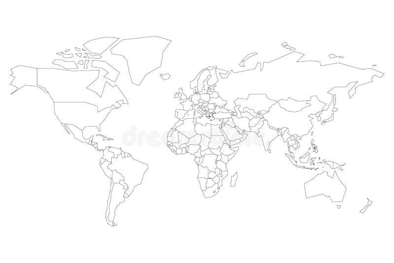 Politische Karte der Welt Leere Karte für Schulquiz Vereinfachter schwarzer dünner Entwurf auf weißem Hintergrund lizenzfreie abbildung