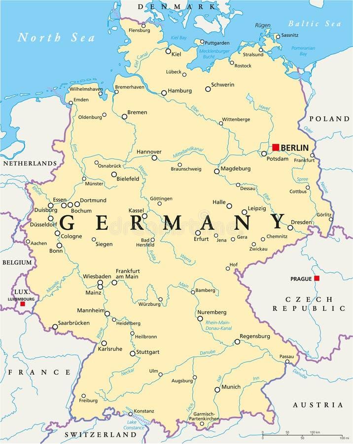 Politische Karte Deutschlands stock abbildung