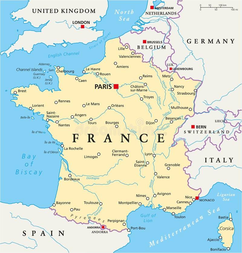 Politische Karte Frankreichs lizenzfreie abbildung