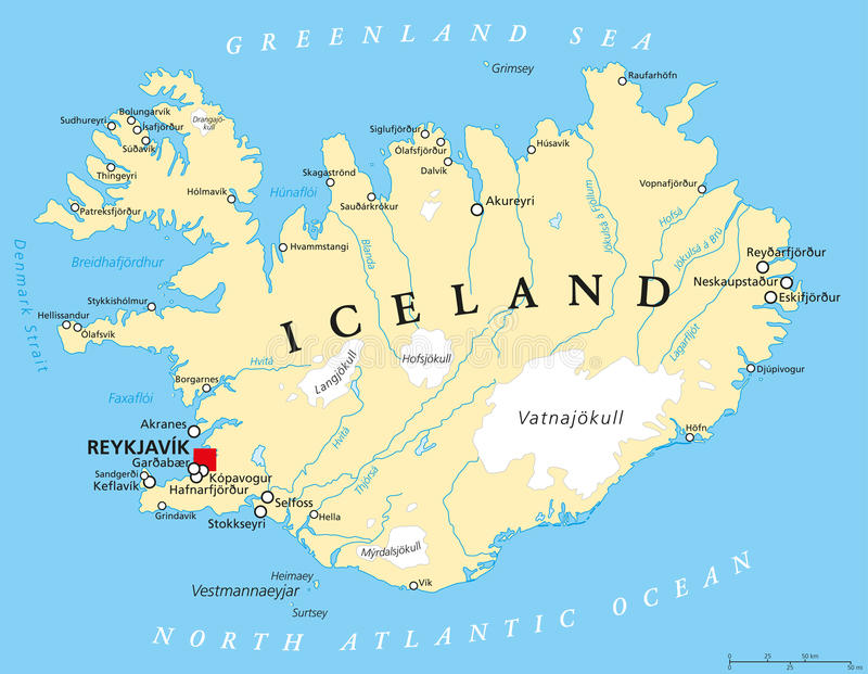 Politische Karte Islands stock abbildung