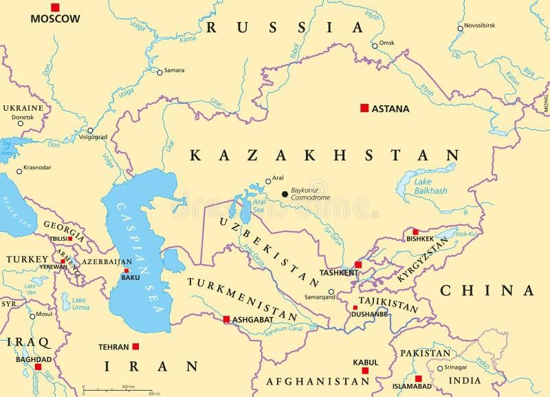 Politische Karte Kaukasus und Zentralasiens lizenzfreie abbildung