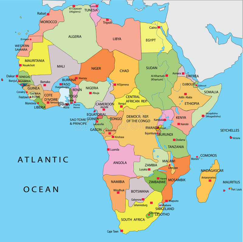 Politische Karte von Afrika stock abbildung