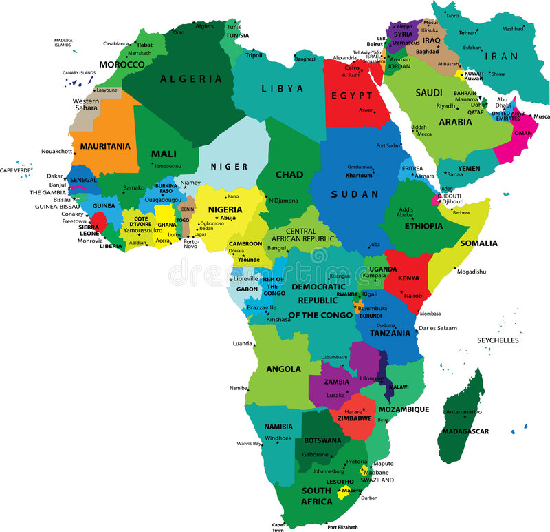 Politische Karte von Afrika lizenzfreie abbildung