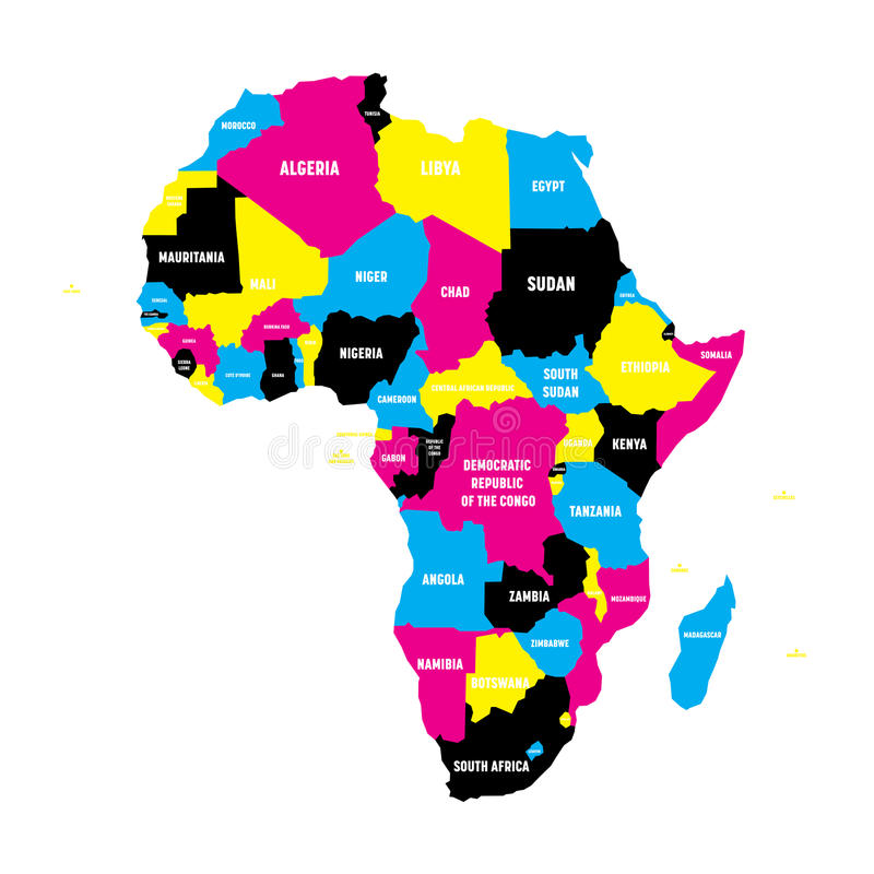 Politische Karte von Afrika-Kontinent in CMYK-Farben mit Landesgrenzen und in den Ländernameaufklebern auf weißem Hintergrund stock abbildung