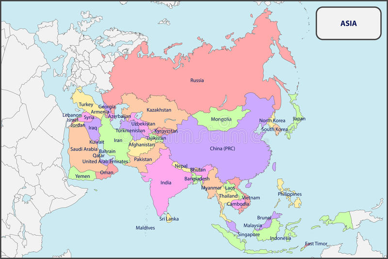 Politische Karte von Asien mit Namen lizenzfreie abbildung