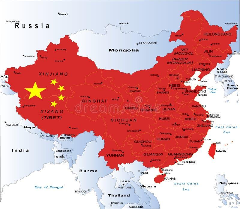 Politische Karte von China lizenzfreie abbildung