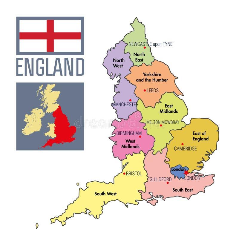 Politische Karte von England mit Regionen und ihren Hauptstädten lizenzfreie abbildung