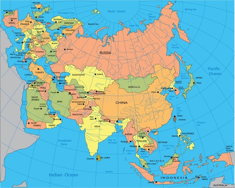 Politische Karte von Eurasia vektor abbildung