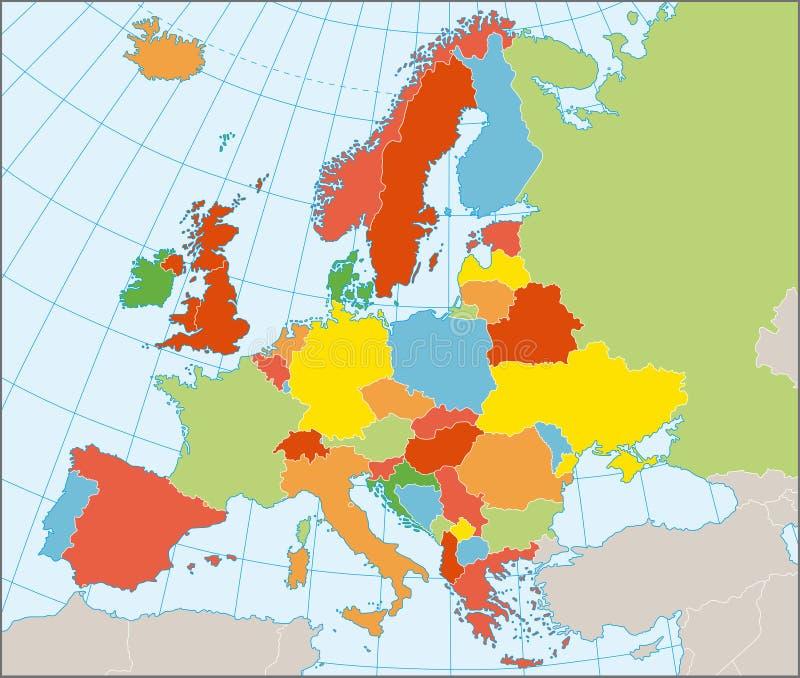 Politische Karte von Europa lizenzfreie abbildung