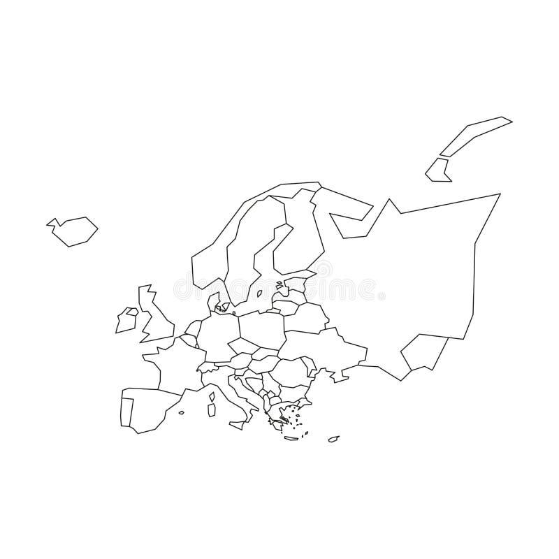 Politische Karte von Europa Vereinfachter schwarzer wireframe Entwurf Auch im corel abgehobenen Betrag stock abbildung
