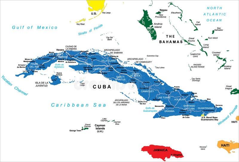 Politische Karte von Kuba lizenzfreie abbildung