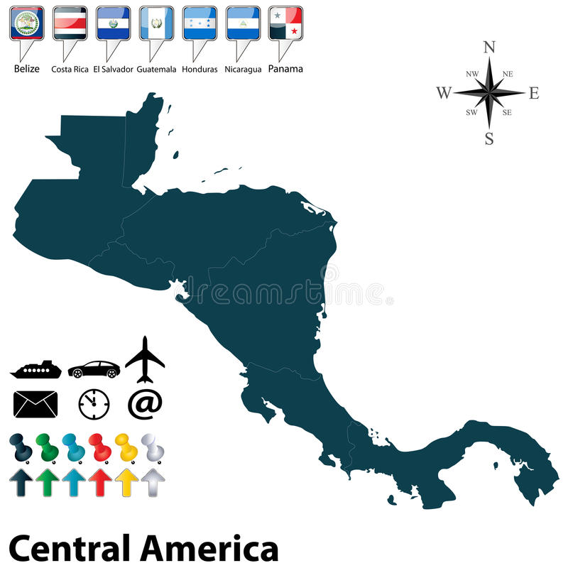 Politische Karte von Mittelamerika stock abbildung