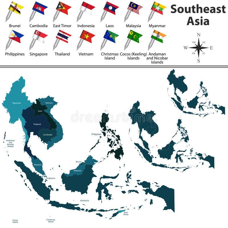 Politische Karte von Südostasien lizenzfreie abbildung