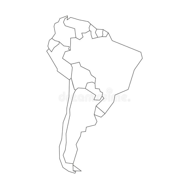 Politische Karte von S?damerika Vereinfachter schwarzer wireframe Entwurf Auch im corel abgehobenen Betrag vektor abbildung