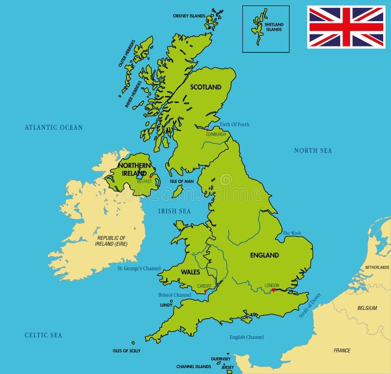 Politische Karte von Vereinigtem Königreich mit Regionen und ihren Hauptstädten lizenzfreie abbildung