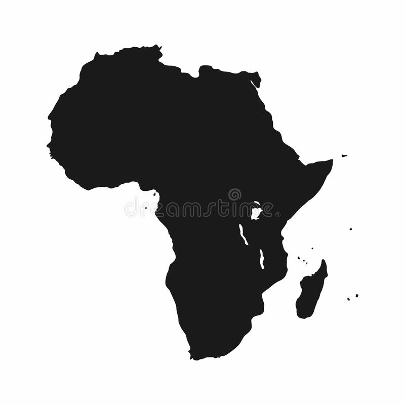 Politische kontinentale Karte Einfarbige Afrika-Kontinentikone vektor abbildung