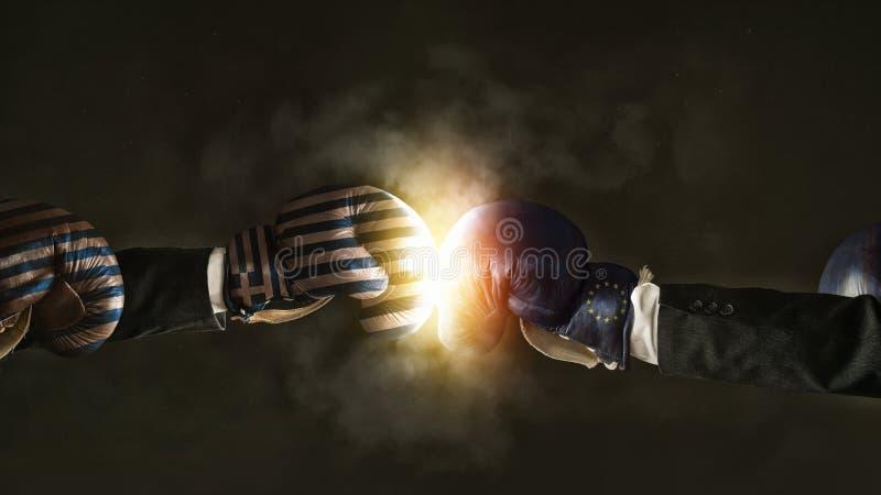 Politische Krise zwischen der EU und dem Griechenland symbolisiert mit Boxin lizenzfreies stockbild