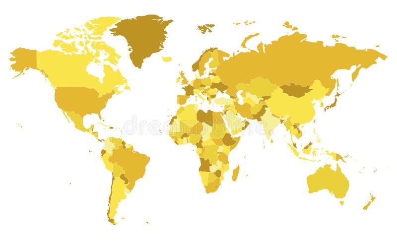 Politische leere Weltkartevektorillustration mit verschiedenen Tönen des Gelbs für jedes Land lizenzfreie abbildung